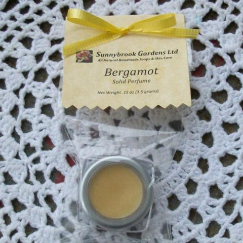 Bergamot Solid Perfume, handcrafted, all natural, vegan friendly, cruelty free - Sunnybrook Gardens Ltd - 1