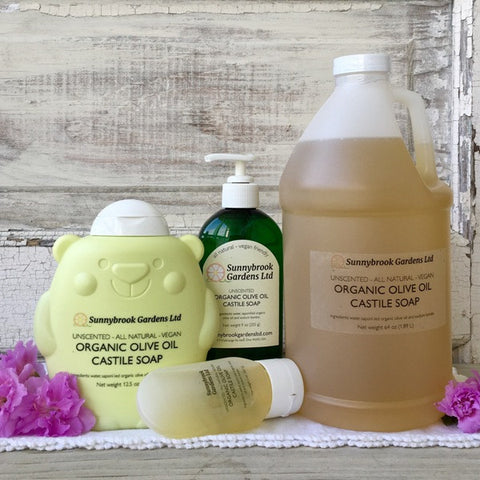 Unscented Organic Olive Oil Castile Liquid Soap, all natural, vegan friendly