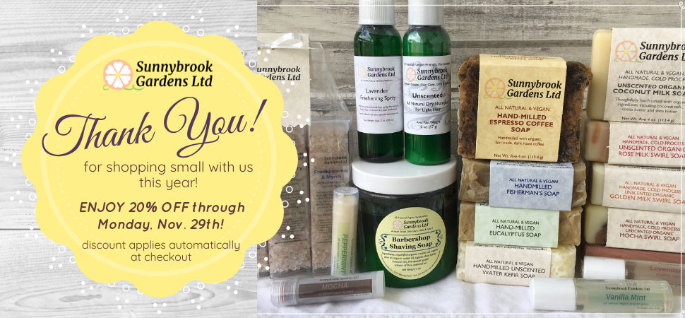 Enjoy Monthly Specials on our all natural, vegan friendly soaps and skincare!