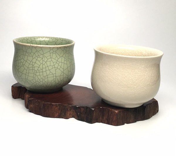 Beautiful Crackle Glaze 2-Tea Cup Set