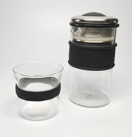 Eilong Ring Glass Tea Set-Black