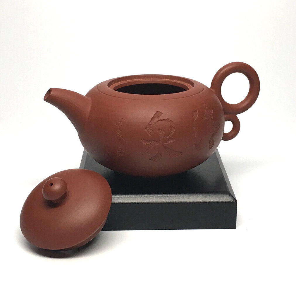 Red Clay Tea Pot-double loop handle