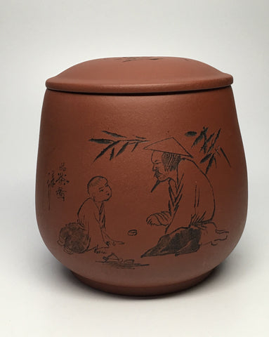 Yixing clay tea storage jar Master/Student motif