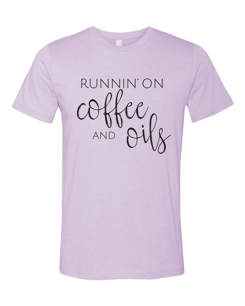 Runnin' on Coffee & Oils Tee - Heather Lilac