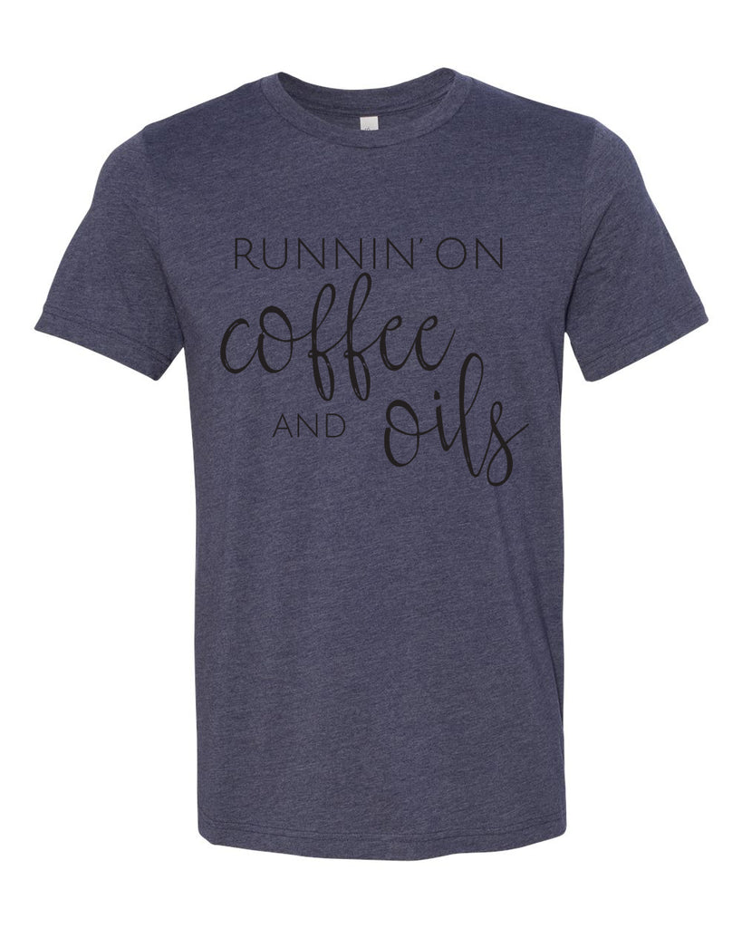 Runnin' on Coffee & Oils Tee - Heather Navy