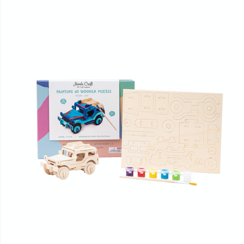 Wooden Puzzle Paint Kit: SUV | Hands Craft