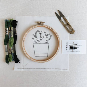 Simple Cactus Embroidery Kit | Thistle & Thread Design