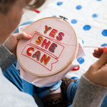 Load image into Gallery viewer, Yes She Can Embroidery Hoop Kit