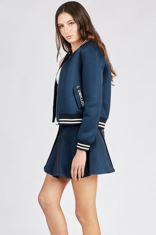 Navy Blue Baseball Jacket and Skirt