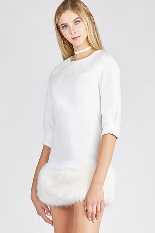 White Mini Dress with Faux Fur