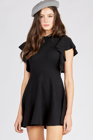 Knit Skater Dress with Flounce Sleeves