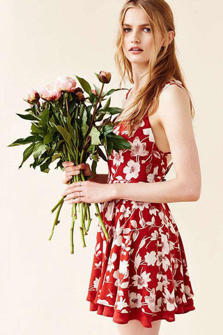 Red Floral Print Flare Dress