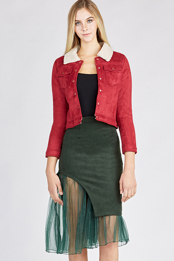 Red Faux Suede Cropped Jacket