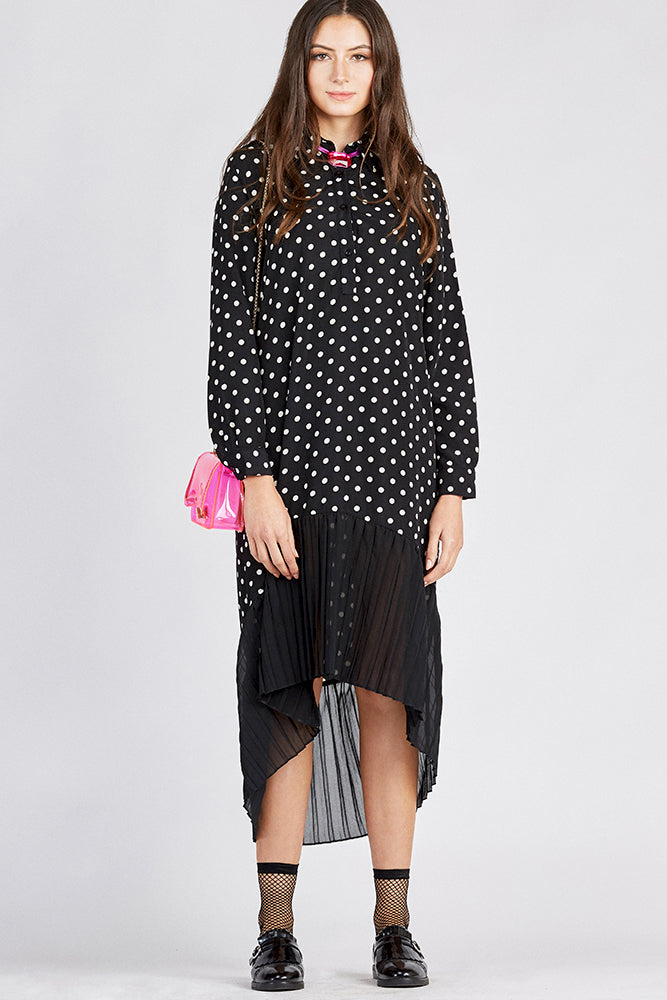Hi-Lo Dot Print Dress