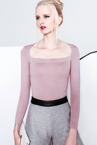 Pink Square-Neck Sweater