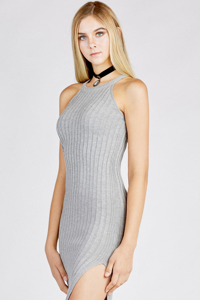 Grey Bodycon Ribbed Dress