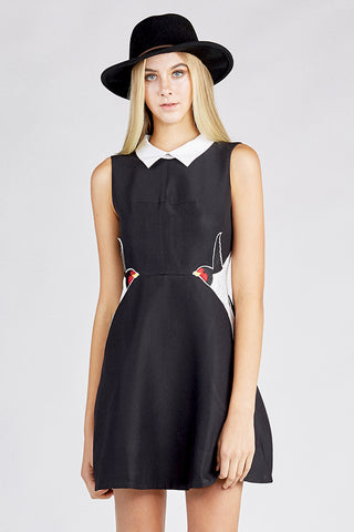 Black Sleeveless Dress with Bird Embroidery