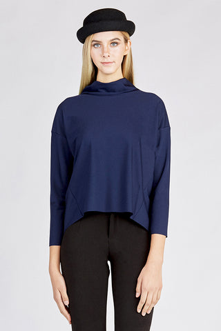 Turtleneck Blouse in Navy Blue