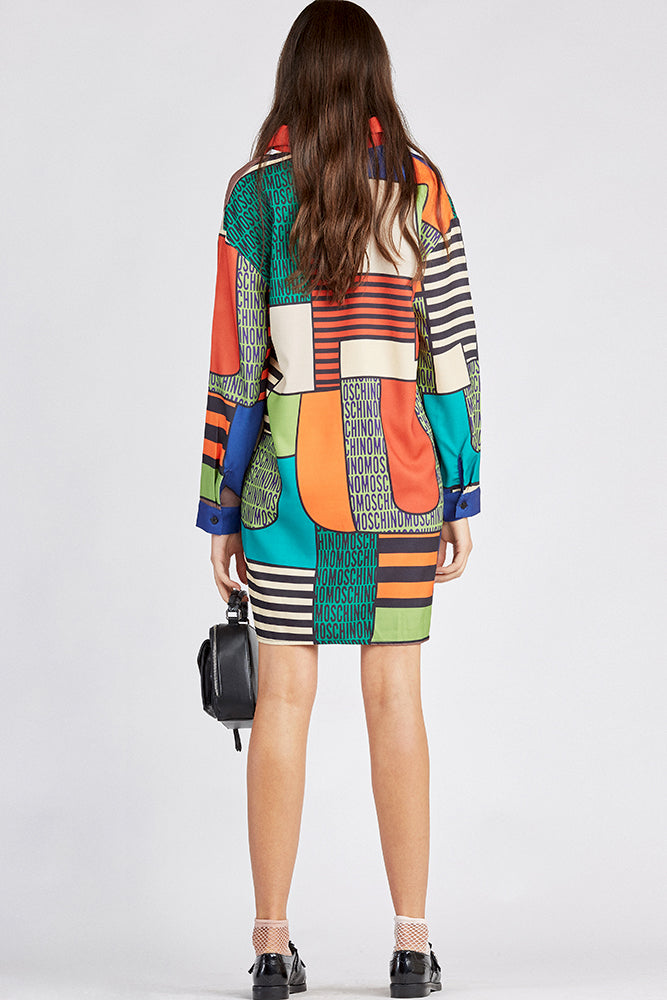 Color-Blocked Geometric Shirtdress
