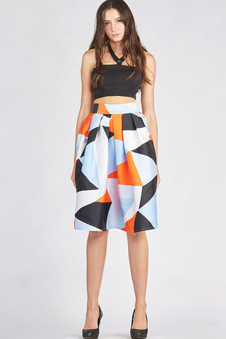 Geometric Umbrella Skirt in Hot Colors