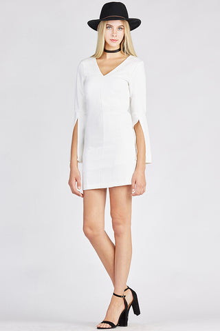 White Bell Sleeve V-Neck Dress