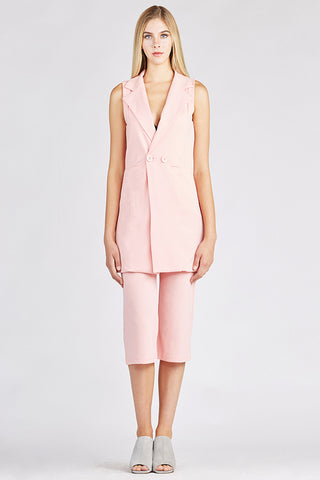 Pink Suit with Cropped Pants