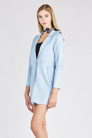 Light Blue Tailored Lapel Coat