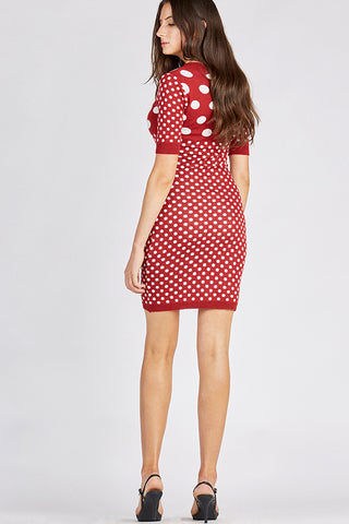 Red Polka-Dot Bandage Knit Dress