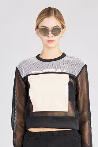Black Mesh Stitching Space Sweatshirt