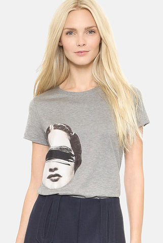 Dadaism Style Printed T-Shirt with Short Sleeves