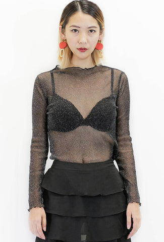 Long Black Mesh Sleeveless Shirt
