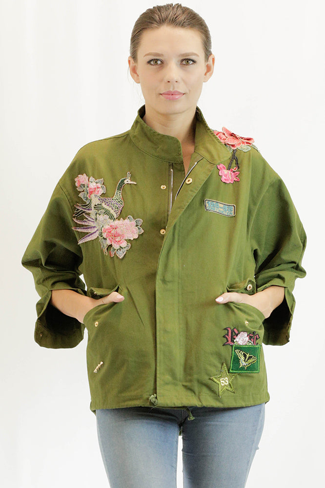 Embroidered Jacket in Army Green