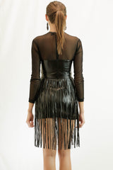 Leather Look Fringed Dress