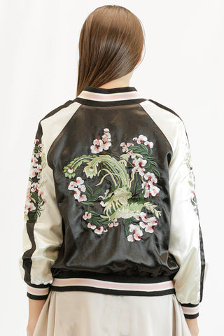 Floral Embroidered Baseball Jacket
