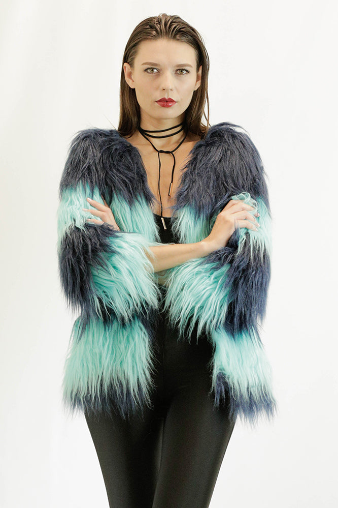 Faux Fur Coat in Green and Blue
