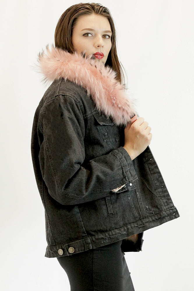 Demin Coat With Faux Fur Collar