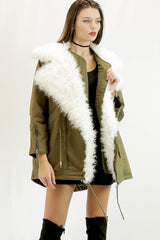 Detachable Faux Fur Jacket in Army Green