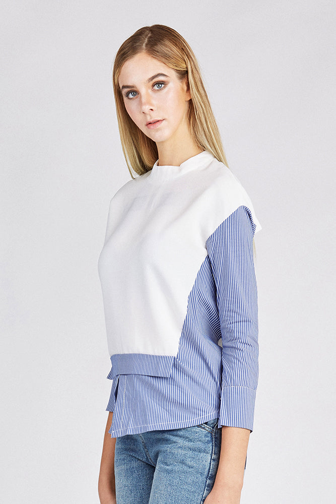 White and Blue Layered-Look Top