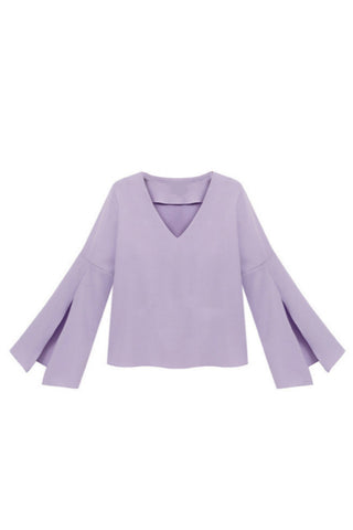 V-Neck Bell Sleeve Blouse in Purple