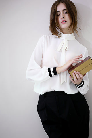 White Chiffon Bow Collar Blouse