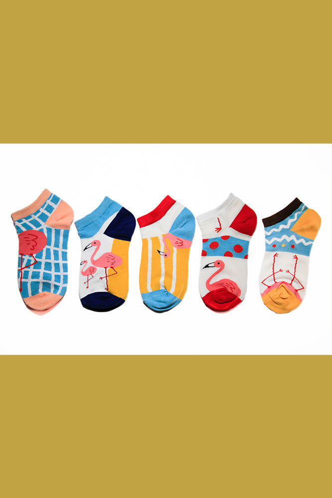 5-Pack Low Cut Flamingo Socks