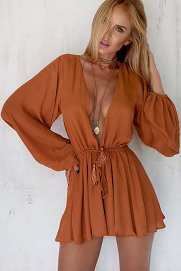 Long Sleeved Short Romper with Plunge Neck