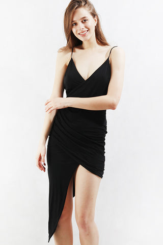 Asymmetrical Slip Dress in Black