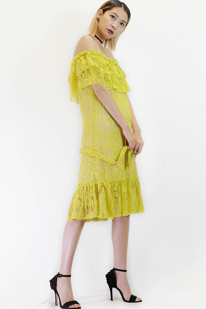 Off the Shoulder Lace Dress in Yellow
