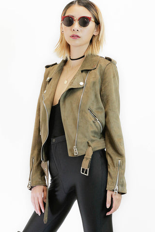 Faux Fur Jacket in Army Green