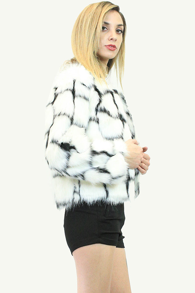 Patchwork Design Faux Fur Jacket