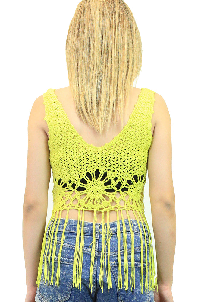 Yellow Crocheted Top with Fringe