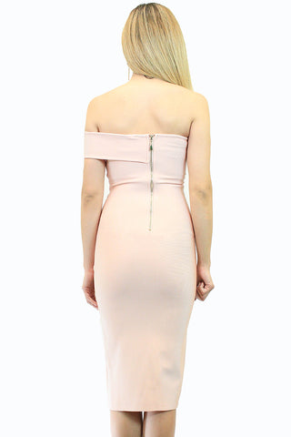 Pink Cold Shoulder Bodycon Dress