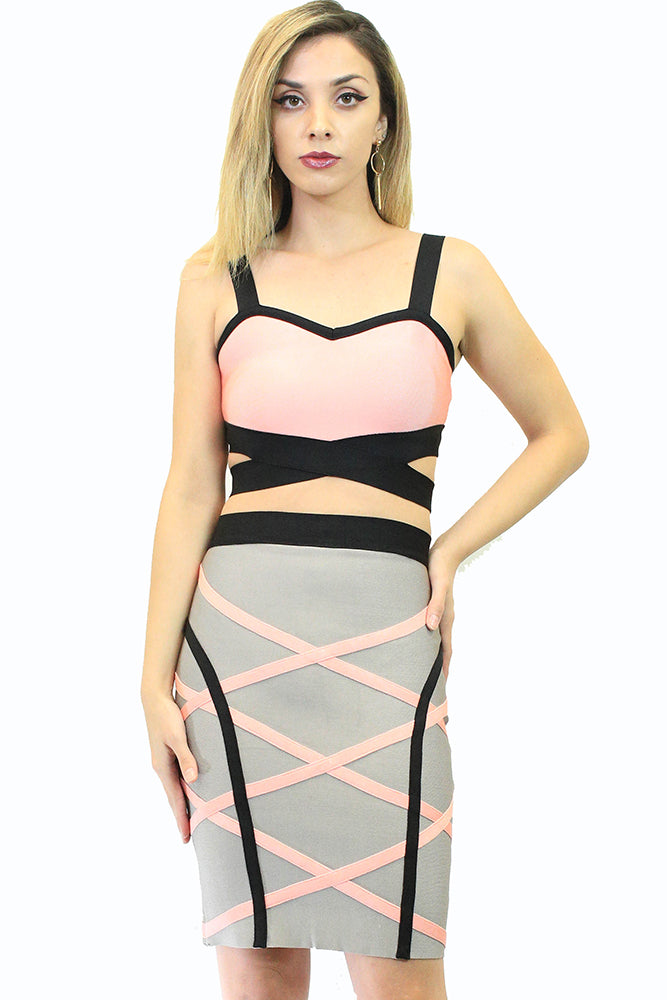 Black and Pink Crop Top and Skirt