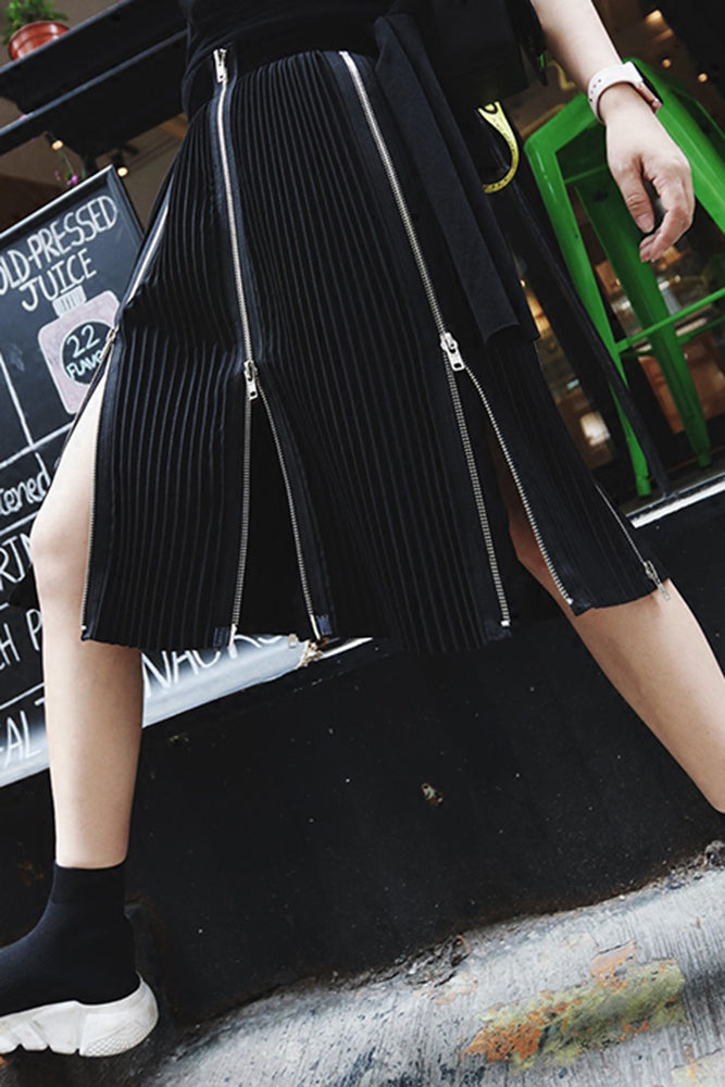 Black Pleated Skirt with Zippered Panels
